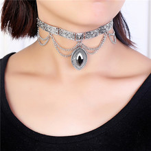 Punk Gray mirror glass gemstone shape oval pendant Sliver plated necklace choker neck 2016 fashion jewelry for women grils