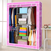 FREE Shipping Cotton Cloth Wardrobe Closet Large And Medium Sized Cabinets Simple Folding Reinforcement Receive Stowed