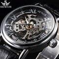 Top De Luxo Da Marca SEWOR Esqueleto Relógio Mecânico Relógios Homens Casuais Relógio Moda Relógios de Pulso de Couro Relojes Erkek Kol Saati