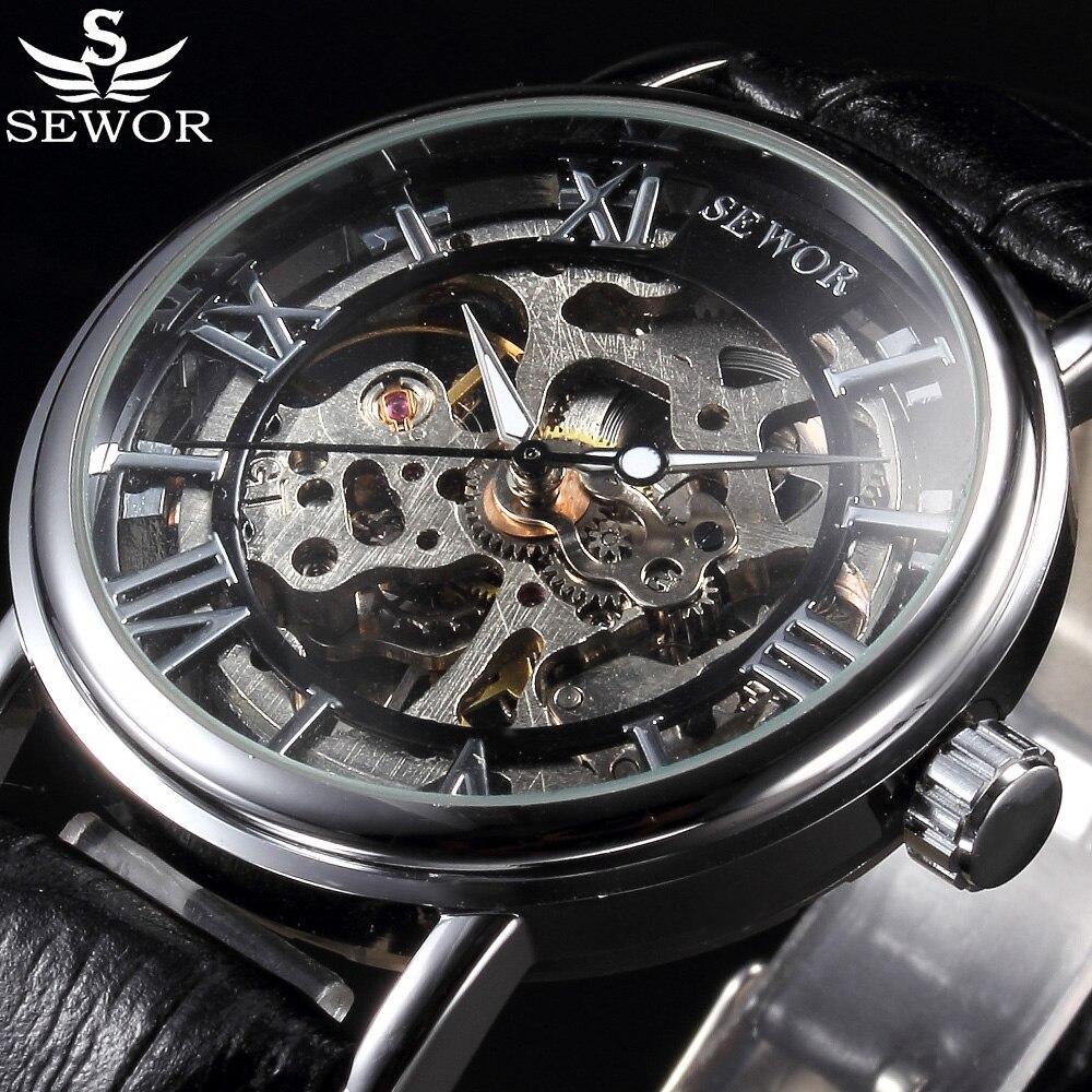 6cf40704708 Top De Luxo Da Marca SEWOR Esqueleto Relógio Mecânico Relógios Homens  Casuais Relógio Moda Relógios de Pulso de Couro Relojes Erkek Kol Saati em  Relógios ...