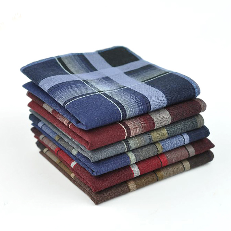 20pcs/lot Striped Plaid Men's Party Handkerchief 40*40cm Casual Unisex Pocket Square Cotton Fabric Hanky Wedding Handkerchiefs
