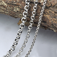 20inch Vintage Sweater Chain 925 Sterling Silver Necklace For Men Handmade Round Chain Link Female Male