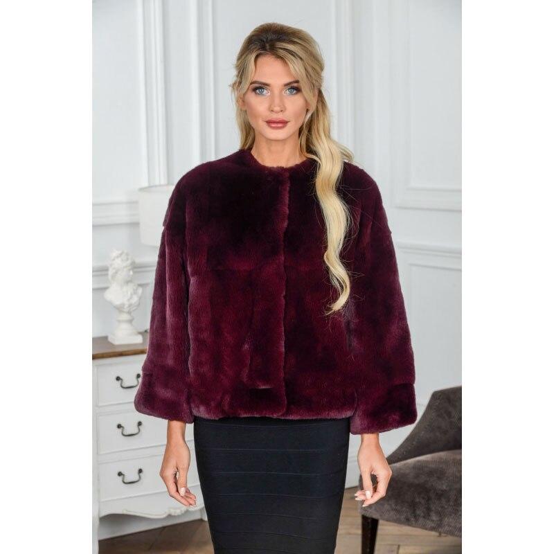 Couleur Style Rex Rouge Luxe Femmes Topfur D'hiver Lapin Mode Vent De Naturel Nouveau Fourrure Manteau Veste Chaud Courte 15qv5Zw