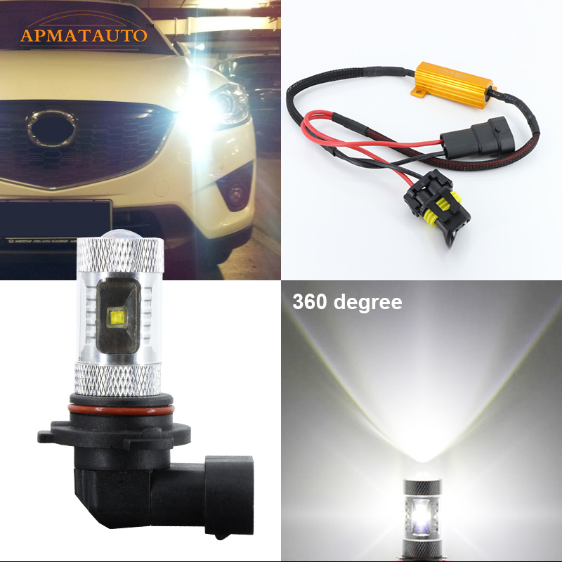 2 x  6000K No Error 9005 HB3  For CREE Chips Projector Bulb LED High Beam Daytime Running Lights For Mazda3 Mazda6 Mazda CX-5 pair error free canbus high power xenon white h7 for cree chips led kit for bmw e46 3 high beam daytime running lights