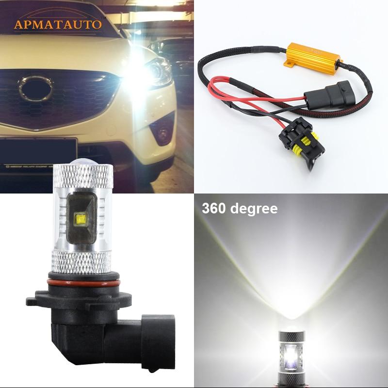 2 х 9005 НВ3 6000К нет ошибки КРИ проектор чипы, светодиодные лампы дальнего света фары дневного света для Mazda3 модели Mazda6 Мазда СХ-5