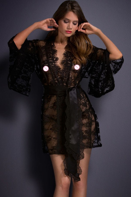 New 2016 Sexy Lingerie hot Erotic Open Front Vintage Belted Lace Kimono Nightwear LC21998 Pajamas For Women plus size M L XL