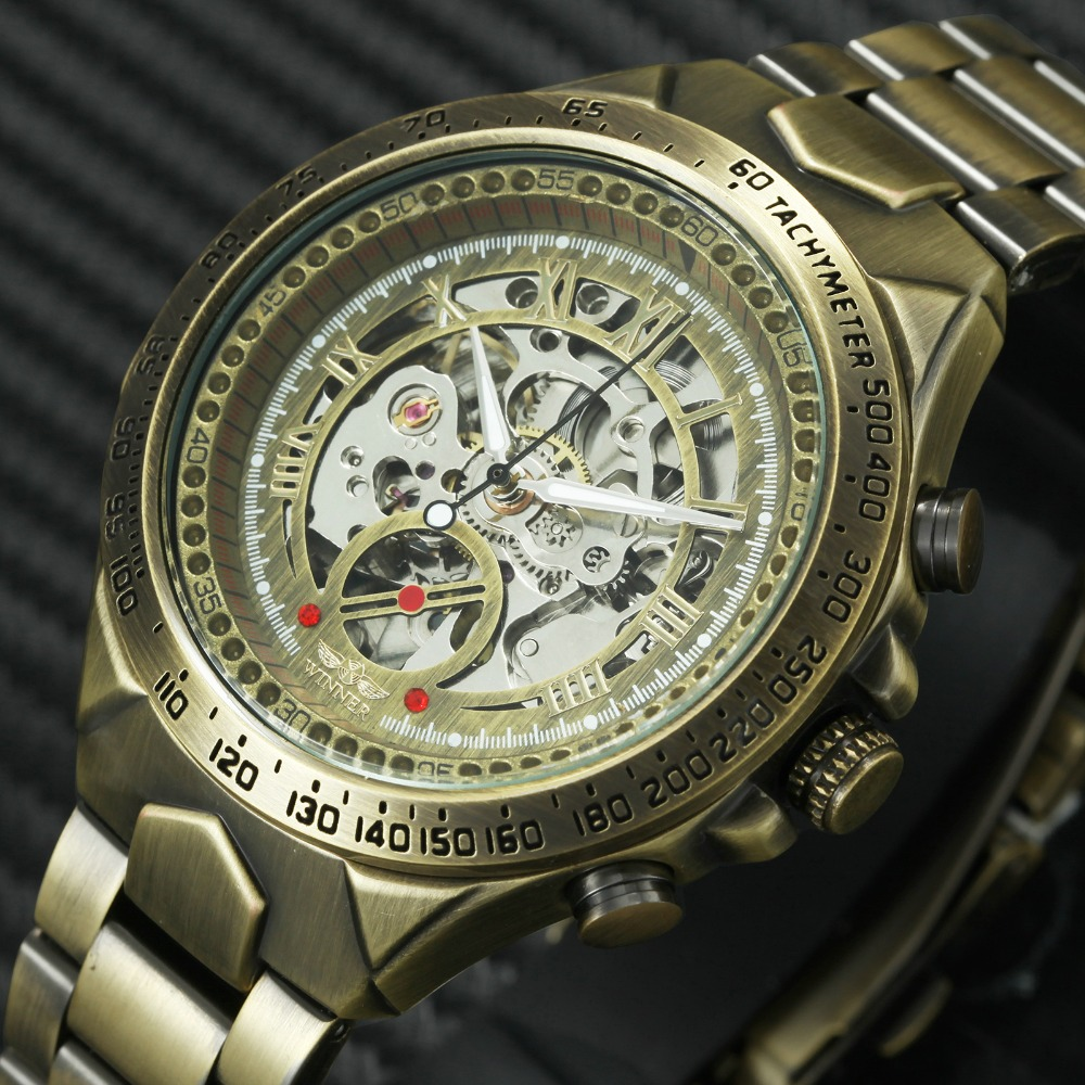 Ganador de moda Vintage de los hombres relojes mecánicos de la correa de Metal de superior de la marca de lujo de la mejor venta Retro Vintage diseño pulsera + caja