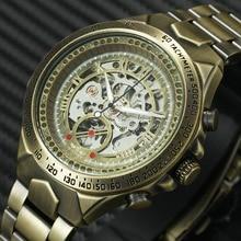 WINNER винтажные Модные мужские механические часы с металлическим ремешком лучший бренд класса люкс хит продаж винтажный ретро-дизайн наручные часы + коробка