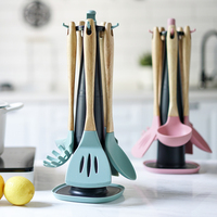 Silicone Turners Butter Cake Spatula Scraper Noodle Soup Spoon Shovel Pink Green Baking Tools Set + Holder Kitchen Accessories