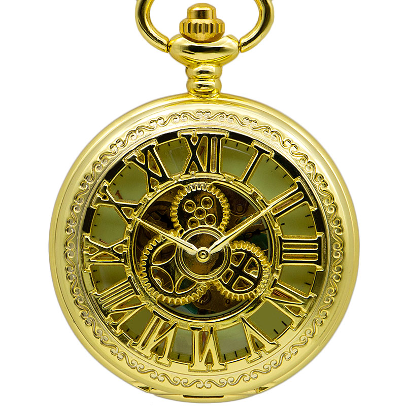 Top Brand Mechanical Pocket Watch FOB Chain Pendant Men Antique Style Skeleton Dial For Women Men Best Gift PJX1376