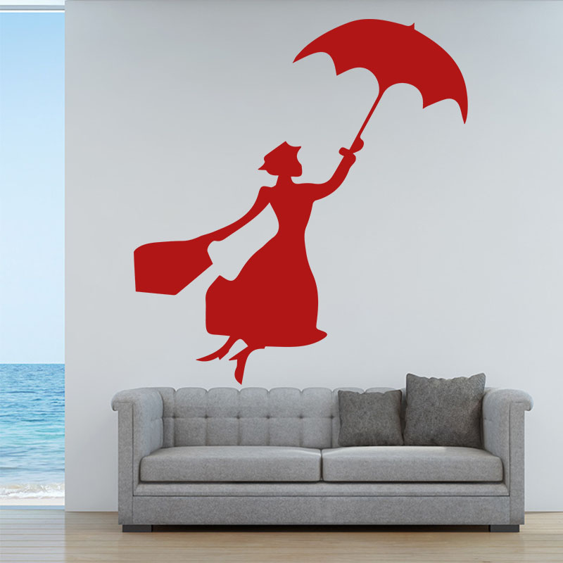 Buy stylish lady wall sticker umbrella - Beautiful wall stickers for living room ...