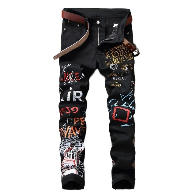 Mcikkny Fashion Men's Printed   Jeans   Brand Slim Fit Stretch Black Pencil   Jeans   Pants Printed Letter For Male Nightclub Clothing