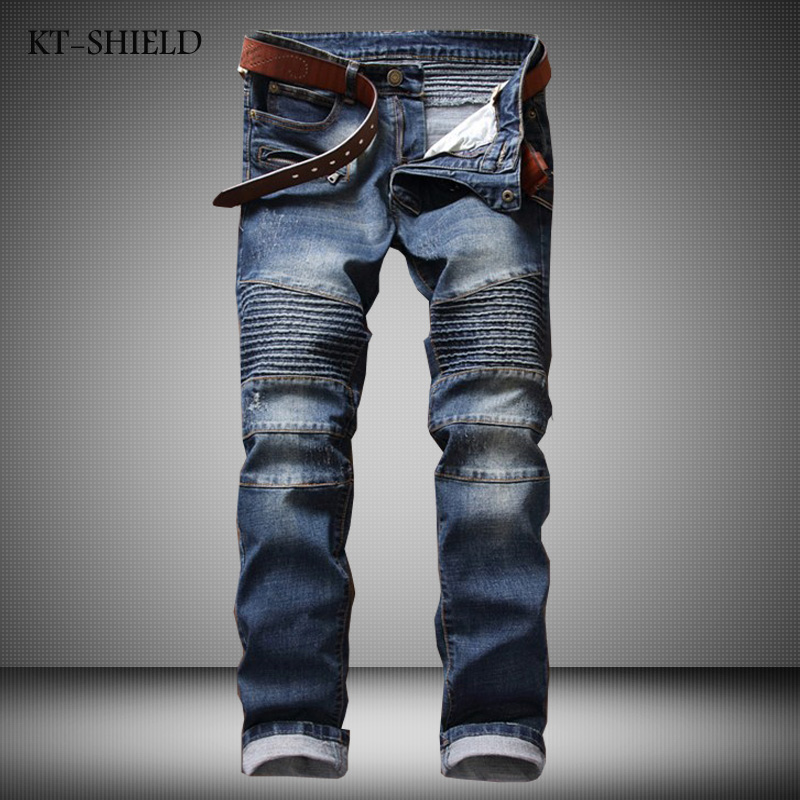 ФОТО Hot Sale Solid Draped Jeans Men New Designer Biker jeans homme High Quality Fashion Straight Denim Overalls Mens Brand Clothing