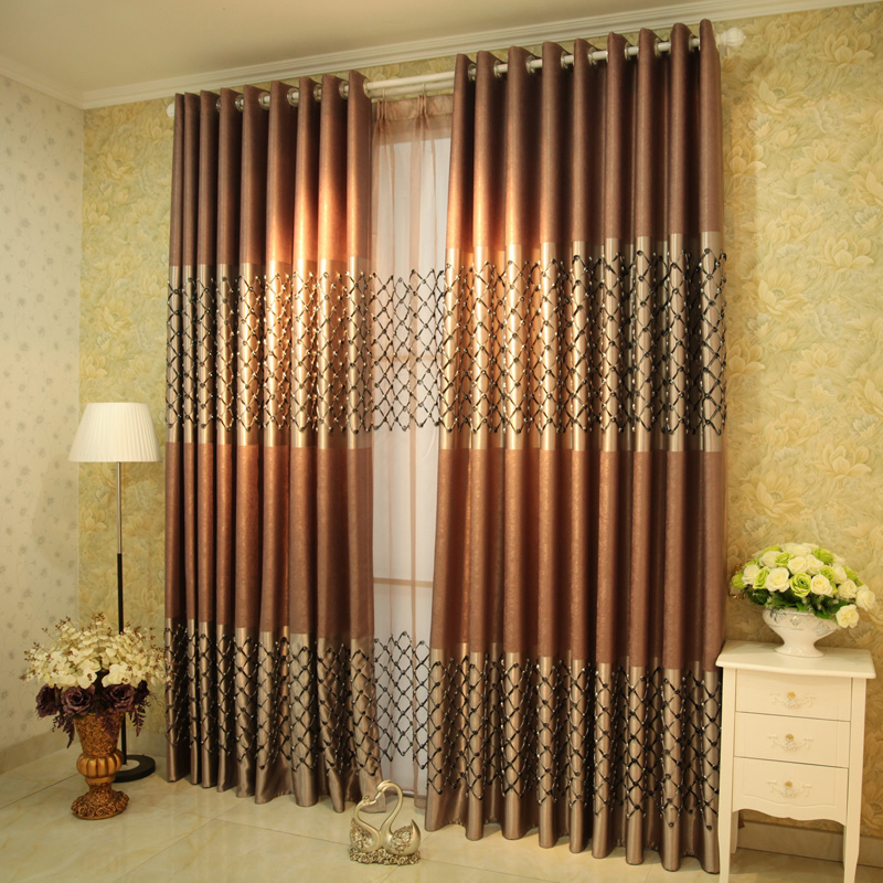 Free Shipping!Upscale Living Room Bedroom Modern European Three-dimensional Embroidery Curtain.
