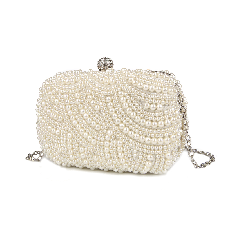 1c2bede619 100% Hand made Luxury Pearl Clutch bags Women Purse Diamond Chain white Evening  Bags for Party Wedding black Bolsa Feminina-in Clutches from Luggage   Bags  ...