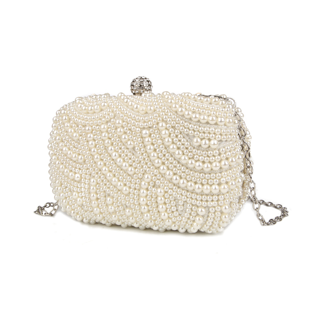 Hand Made Luxury Pearl Clutch Bags For Women | Purse Diamond Chain white Evening Bags