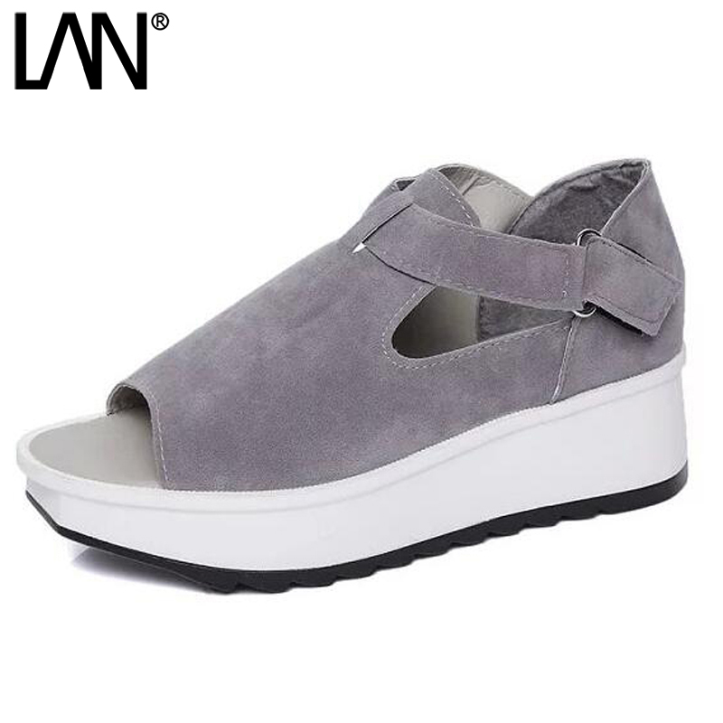 LANSHULAN 2017 New Summer Women Sandals Peep Toe Trifle Platform Thick Bottom Casual Shoes Women Flip Flops Wedges lanshulan wedges gladiator sandals 2017 summer peep toe platform slippers casual glitters shoes woman slip on flats creepers