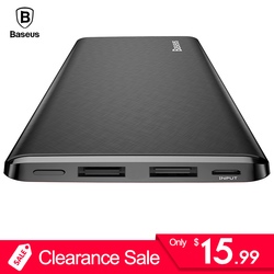 Baseus 10000mAh Power Bank For iPhone Huawei Xiaomi OnePlus Ultra Slim Powerbank Poverbank Mobile Phone External Battery Charger