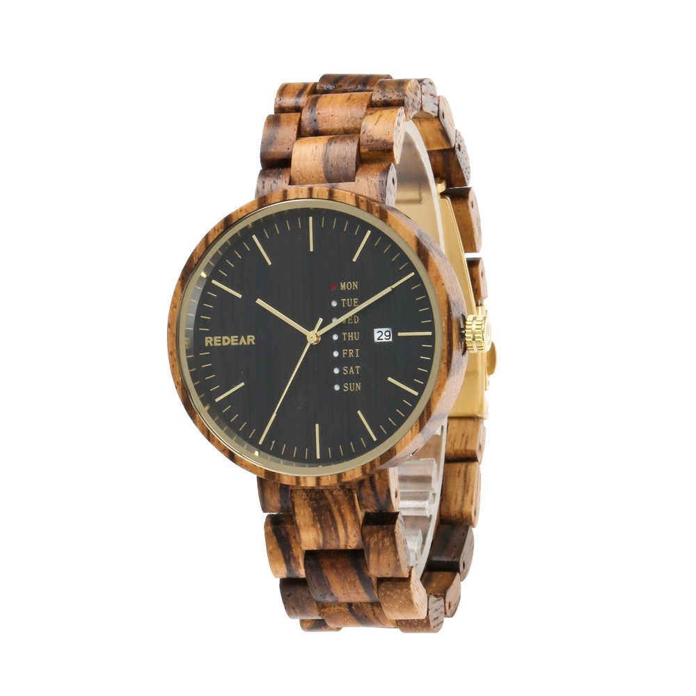 Wood Watches Men Full Wooden Strap Watch With Calendar Luxury Vintage Casual Quartz Wrist Watch for Men Relogio Masculino 2017 bewell men wooden watch black sandal wood roman numerals date wrist watches luxury men s round dial full wood relogio masculino