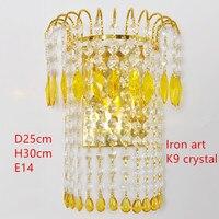 Nordic LED Kristall Wand Lampe Eisen Kristall E14 Glühbirne 90-260V Schlafzimmer Nacht Wand Lampe Hause Wand lampe Indoor Dekorationen