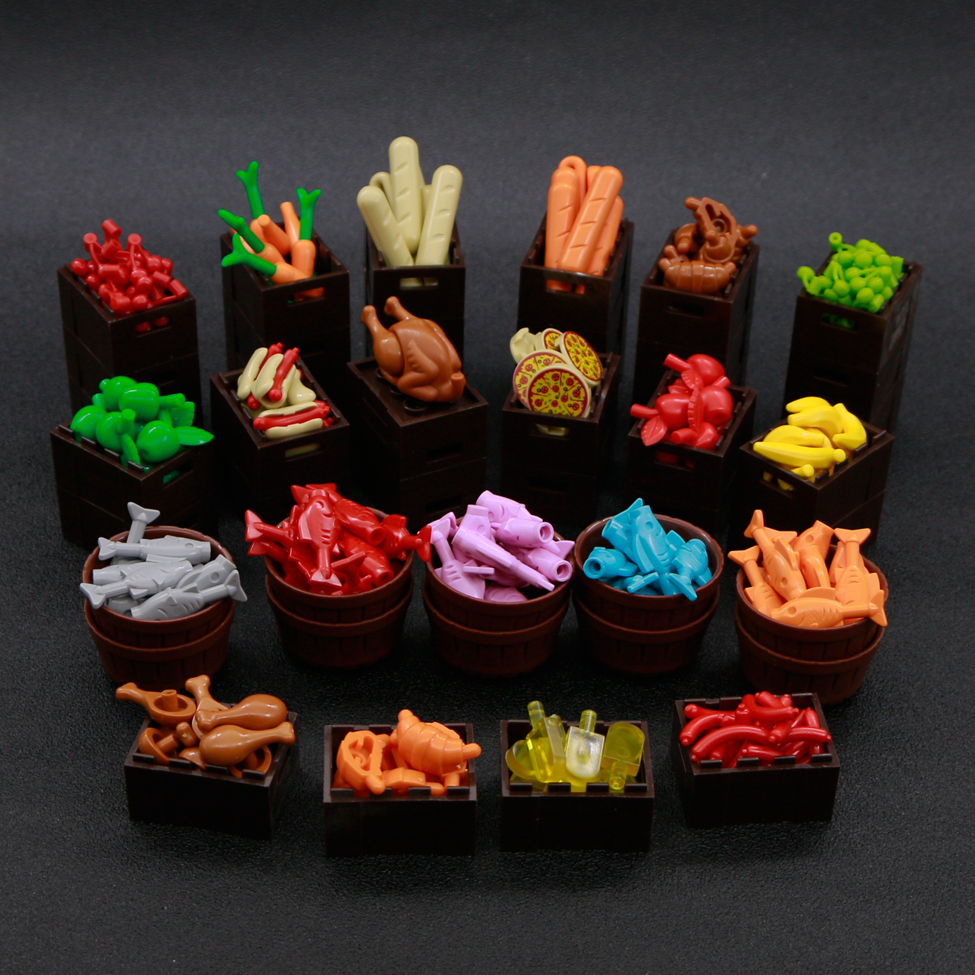 Food Building Blocks City Accessories Pizza Carrot Cherry Banana Fish Basket Hot Dog Fruit Bricks Toy Friends Figures parts bulk