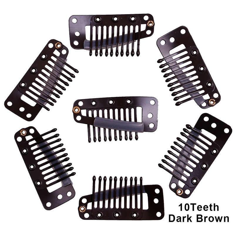 100 sztuk 3.8 cm 10 zęby czarny brązowy Sideling Snape klips do włosów dla przedłużanie włosów wątek splot i peruki, silikonowa tylna spinki do włosów