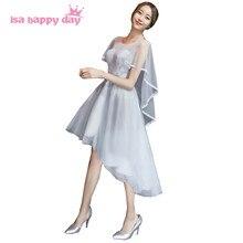 1081952c22bb8c9 Серого цвета bridemaid платья невесты одежда серый с короткими рукавами  короткое спереди и длинное сзади платье