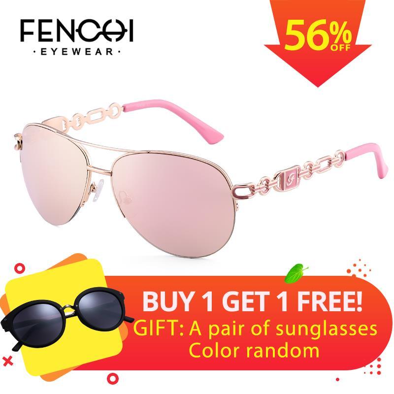 c07c3c3477 FENCHI Sunglasses Women Driving Pilot Classic Vintage Sunglasses High  Quality Metal Brand Designer Glasses UV400 Fashion Pink