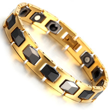 2017 Fashion Jewelry Tungsten Magnetic Hematite Mens Bracelet Health Care Link Chain Wristband B1374