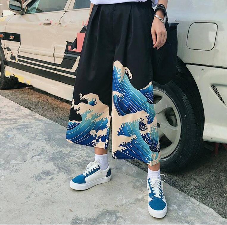 Summer printing high waist loose wide leg pants