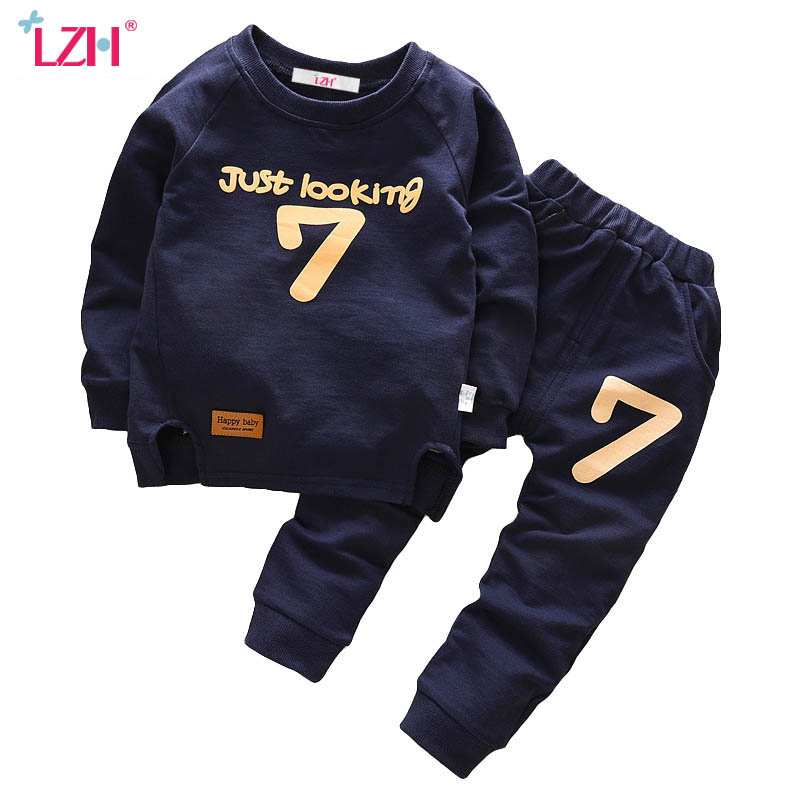 LZH Children Boys Clothing 2017 Autumn Winter Girls Clothes T-shirt+Pants 2pcs Kids Christmas Outfit Costume For Boys Sport Suit