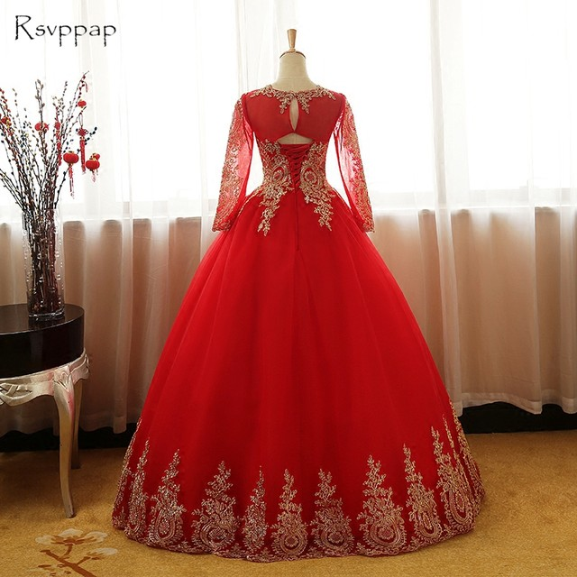 Online Shop Gorgeous Ball Gown Long Sleeve Puffy Gold Lace Arabic ...