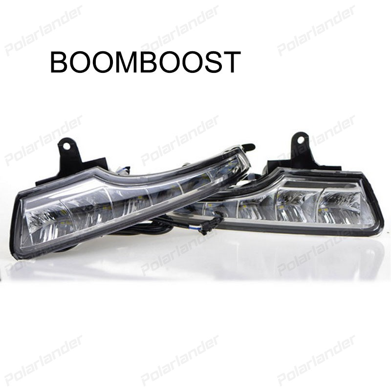BOOMBOOST 12V LED DRL Daytime running lights with fog lamp:for N/issan new t/eana Or A/ltima 2013-2015 Turn Signal car styling 2 pcs car styling daytime running lights with fog lamp for n issan new t eana or a ltima 2013 2015 turn signal