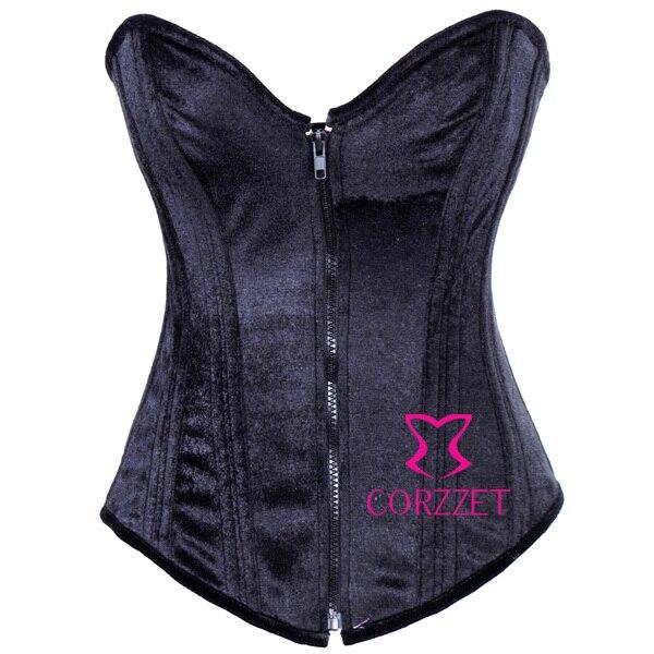 d0bffeb4d1fd4 Cheap Front Zipper Flannel Black Corset Steel Bone Strapless Bustier Crop Top  S M L XL XXL Women Plus Size Corselet Sexy Basque