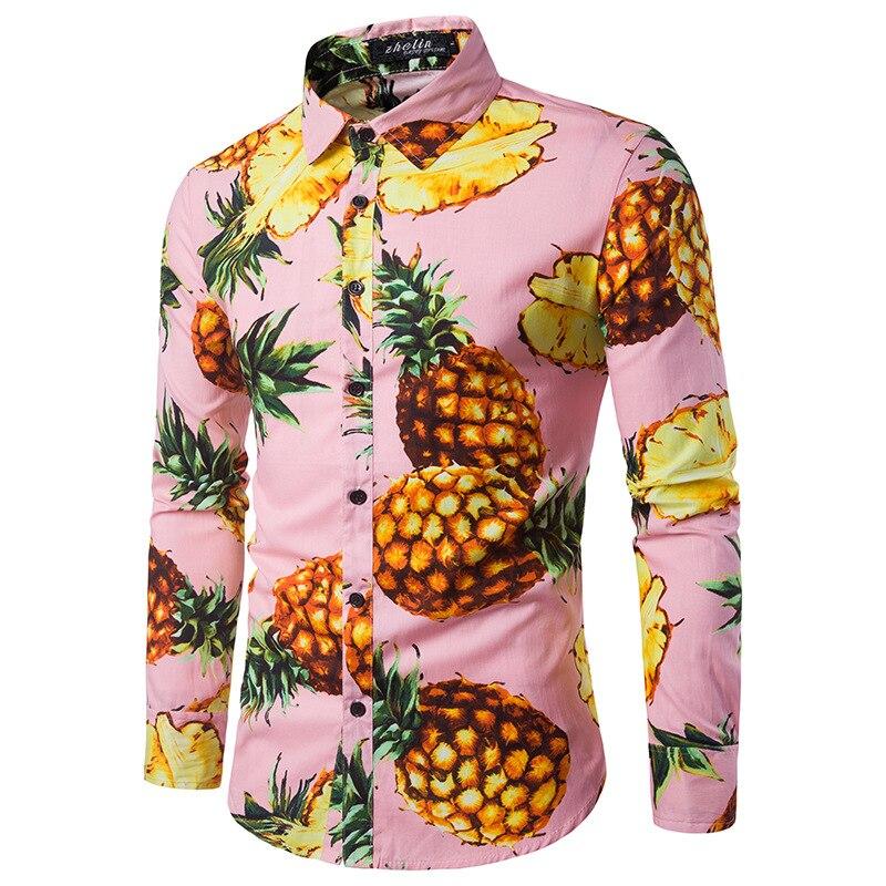 Мужская рубашка личность песчаный пляж ветер ананас печать мужская небольшой свежий отдыха воротник с длинным рукавом рубашка лимон