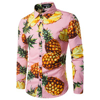 Men's Shirt Personality Sandy Beach Wind Pineapple Printing Men's Small Fresh Recreational Collar Long Sleeve Shirt Lemon
