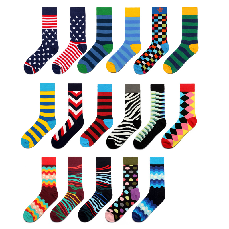 Men Socks Funny Zebra Stripe Wave Dot Diamond Lattice Gecko Colorful Happy Hip-hop Harajuku Street Casual Skate Cotton Socks
