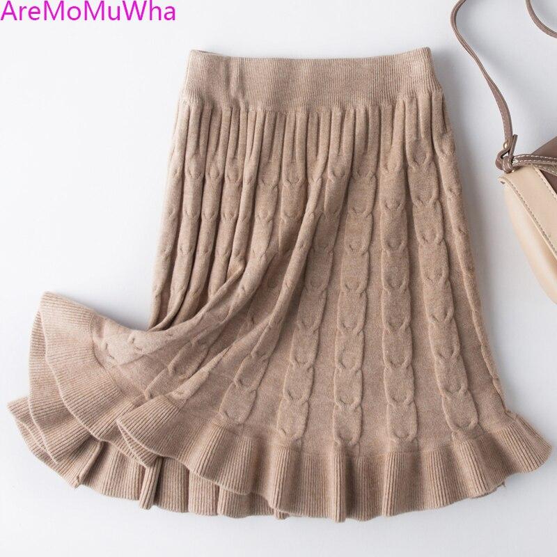 f18bce627 AreMoMuWha nueva primavera otoño dulce volantes faldas de punto Mujer  delgada de cintura alta ...