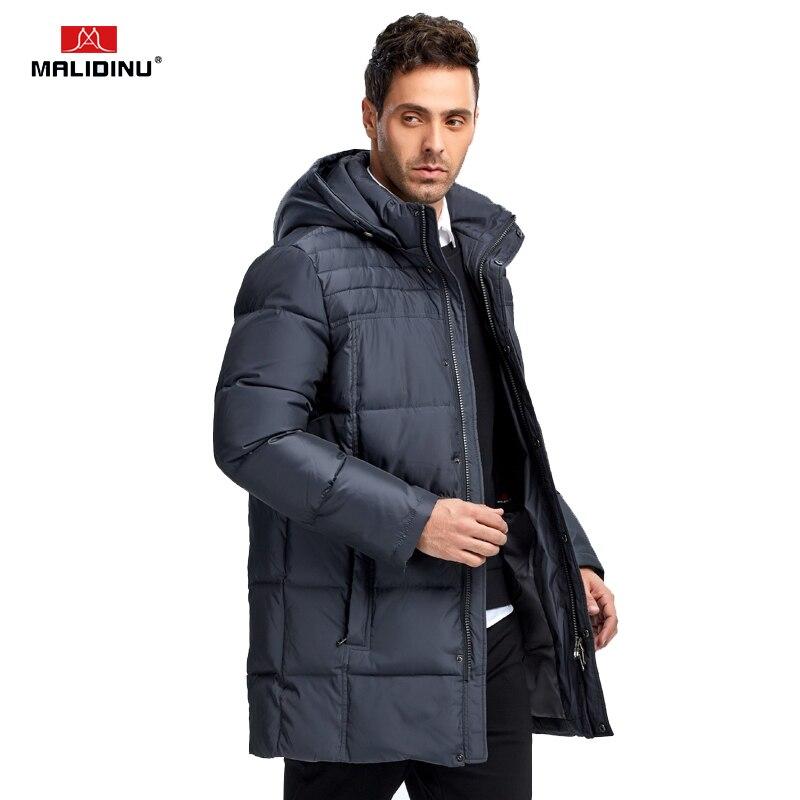 MALIDINU 2019 nouveaux hommes duvet de canard veste d'hiver épais Long manteau marque européenne taille hommes duvet manteau Parka livraison gratuite - 2