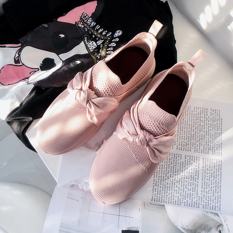 Sweet Quality Slip On Elastic Shoes Flats Pink Sneakers Runner Lovers Shoes Women Walking Trainers Bow Round Toe Mesh New Shoes