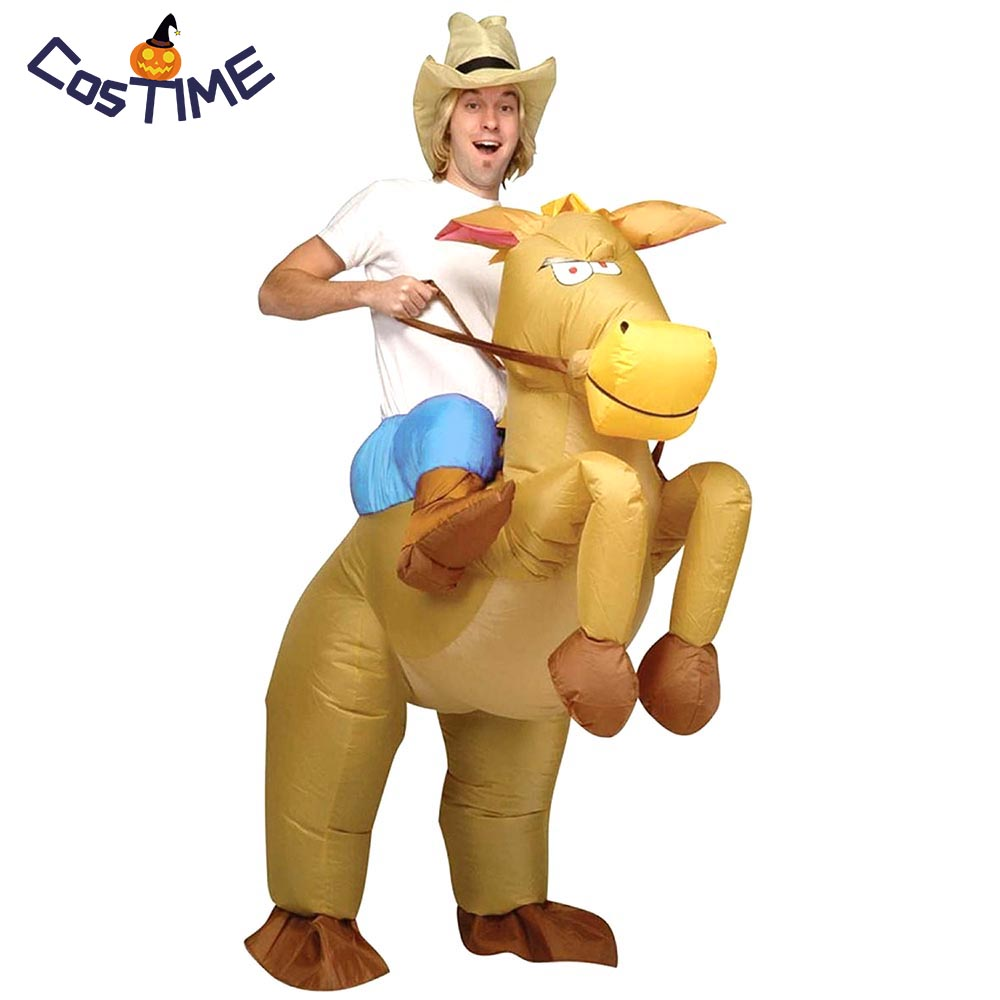 Inflatable Cowboy Costume Adult Horse Riding Inflatable Costume Hallween Party Costumes Fancy Dress Air Blown Funny Costume