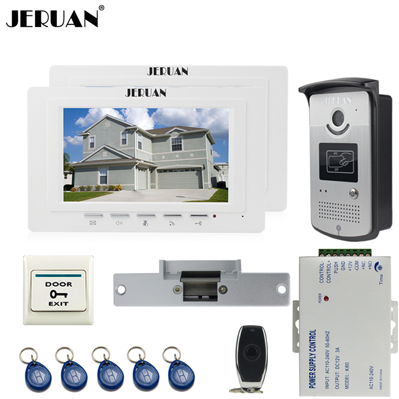 JERUAN two luxury 7`` LCD  Video Door Phone System 700TVT Camera access Control System+Cathode lock+Remote control Unlock jeruan black 8 lcd video door phone system 700tvt camera access control system cathode lock remote control 8gb card