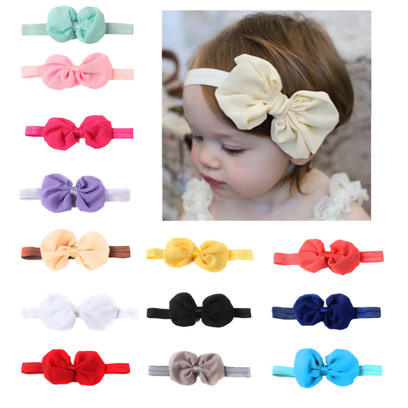 купить 1PC Newborn Cute Colorful Bow Elastic Hairbands Baby Girls Hair Wrap Ribbon Headbands Hair Bands Kids Headwear Hair Accessories недорого