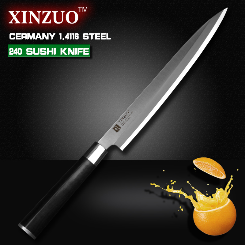 XINZUO 9 5 inch sashimi font b knife b font with Scabbard Germany steel cleaver kitchen