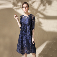 2018 Spring Embroidery Elegant Dress Women High Quality Half Sleeve Knee Length Perspective Female Loose Spring