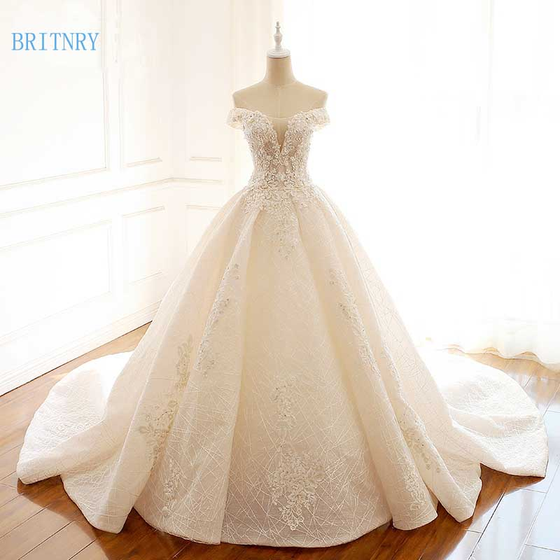 BRITNRY New Arrivals Luxury Wedding Dress Lace Sequins Ball Gown Bride Dress Beading Light Champagne Vintage Wedding Gowns 2018