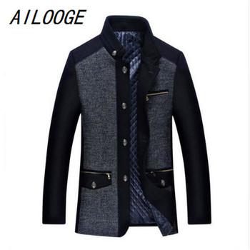 AILOOGE 2018 Men's Winter Jacket New Fashion Personality Wool Mens coat Men Plus cotton Coat Business Casual Overcoat