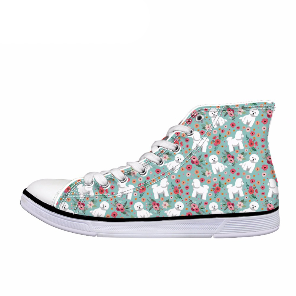 Toile Pour Chaussures Femmes Fille h8497ak h8496ak High Mignon h8498ak Noisydesigns Top Casual h8495ak h8494ak Conception Imprimer Vulcaniser Bichon top Fleur Animale h8492ak h8493ak Haute Frise Customak ZSgST