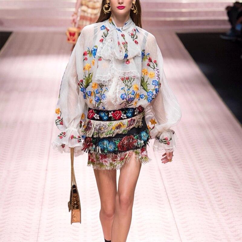 Piste européenne hauts 2019 printemps femmes élégant Vintage arc Floral broderie lanterne manches Blouse blanc noir chemise déale