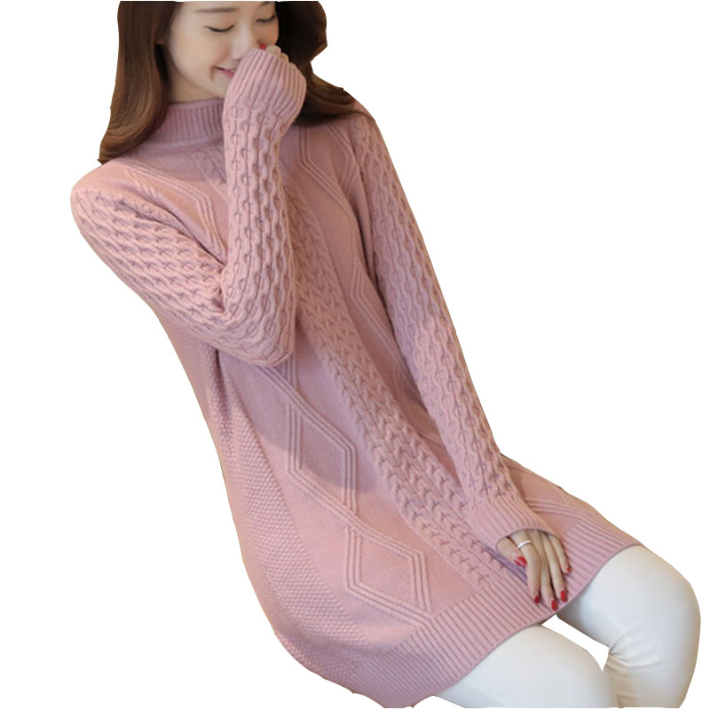 Knit Coat Pullover Tops Thick Half-High-Collar Autumn Winter Plus-Size Women Ladies Loose